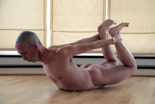 Naked yoga for men London. Bow